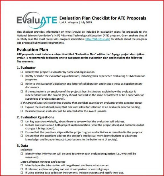 Evaluation Plan Checklist for ATE Proposals