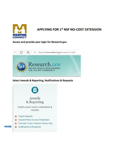 Instructions for 1st NSF no-cost extension request