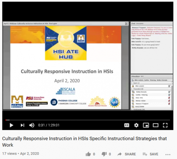 Webinar: Culturally Responsive Instruction at HSIs - Strategies that Work